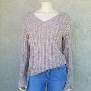 Croft & Barrow Oatmeal Marled Cable Knit Sweater